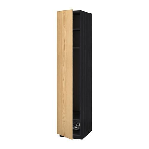 МЕТОД Выс шкаф с полками/проволоч корзин - 40x60x200 см, Экестад дуб, под дерево черный