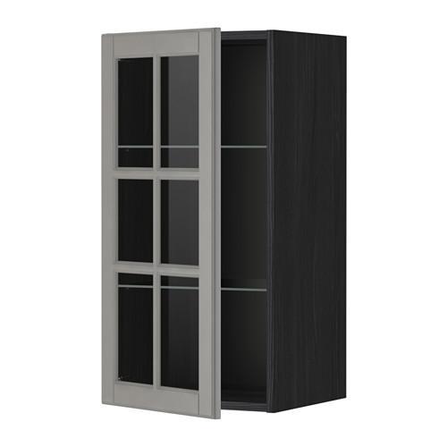 МЕТОД Навесной шкаф с полками/стекл дв - 40x80 см, Будбин серый, под дерево черный