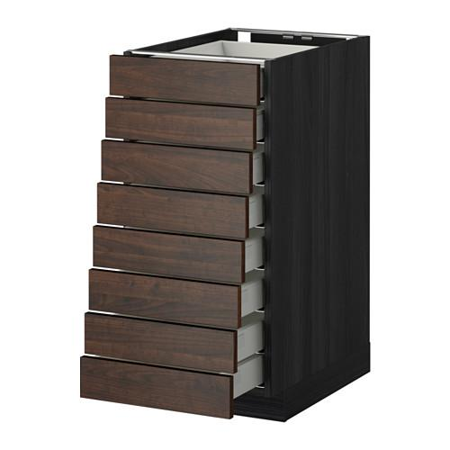 МЕТОД / МАКСИМЕРА Наполн шкаф 8 фронт/8 низк ящиков - 40x60 см, Эдсерум под дерево коричневый, под дерево черный