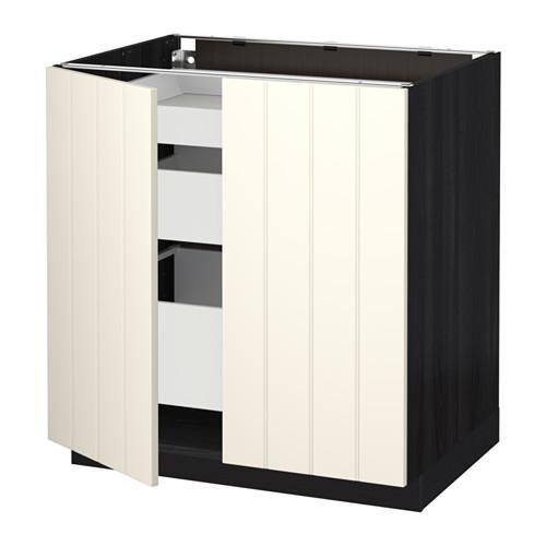 МЕТОД / МАКСИМЕРА Напольный шкаф с 2дверцами/3ящиками - Хитарп белый с оттенком, под дерево черный
