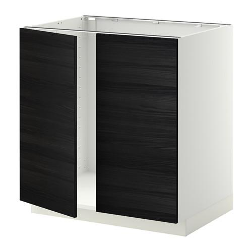 МЕТОД Напольн шкаф д раковины+2 двери - Тингсрид под дерево черный, белый
