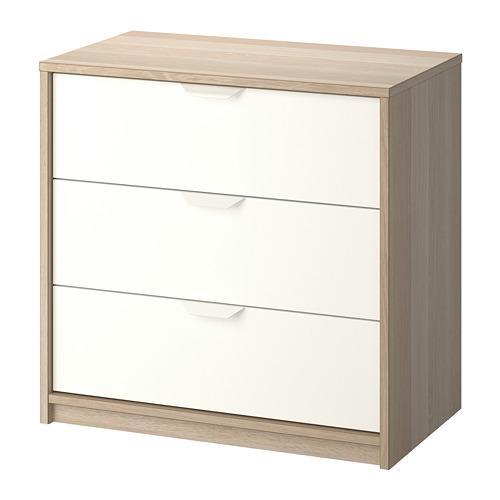 ASKVOLL calaixera amb calaixos 3 en roure blanquejat / blanc 70x41x68 cm