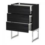 METODO / cabinet FORVARA Base 3front PNL / 2niz / 2sr cassetti - 60x37x60 cm Tingsrid legno nero, legno nero