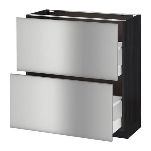 МЕТОД / МАКСИМЕРА Напольный шкаф с 2 ящиками - 80x37 см, Гревста нержавеющ сталь, под дерево черный