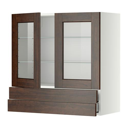 МЕТОД / МАКСИМЕРА Навесной шкаф/2 стек дв/2 ящика - 80x80 см, Эдсерум под дерево коричневый, белый