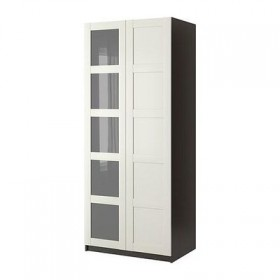 PAX Wardrobe 2-door - Pax Bergsbu white, black and brown, 100x60x236 see