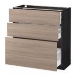МЕТОД / МАКСИМЕРА Напольный шкаф с 3 ящиками - 80x37 см, Брокхульт под грецкий орех светло-серый, под дерево черный