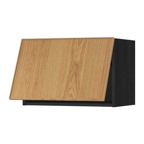 МЕТОД Горизонтальный навесной шкаф - 60x40 см, Экестад дуб, под дерево черный