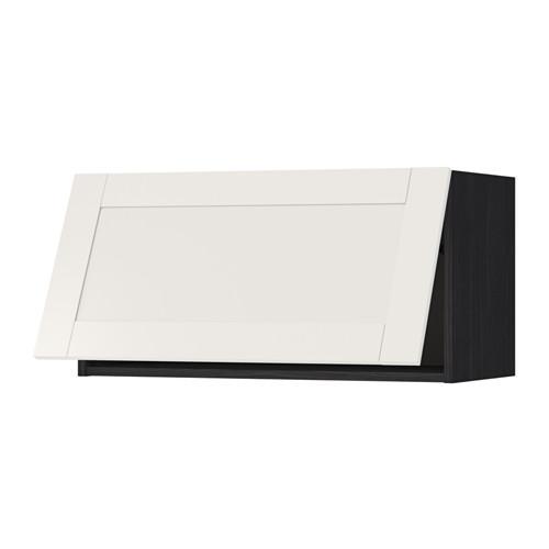 МЕТОД Горизонтальный навесной шкаф - 80x40 см, Сэведаль белый, под дерево черный