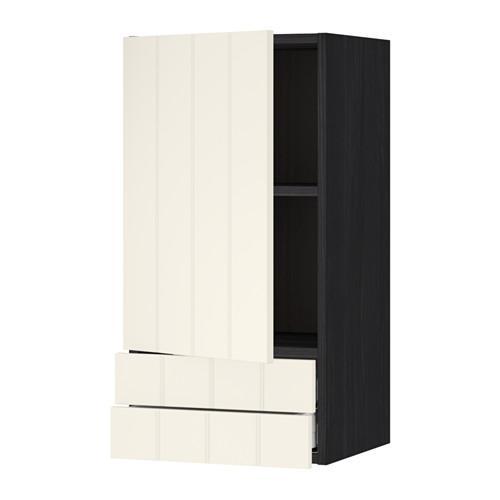 МЕТОД / МАКСИМЕРА Навесной шкаф с дверцей/2 ящика - 40x80 см, Хитарп белый с оттенком, под дерево черный