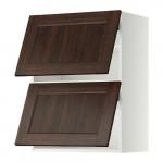 МЕТОД Навесной шкаф/2 дверцы, горизонтал - 60x80 см, Эдсерум под дерево коричневый, белый