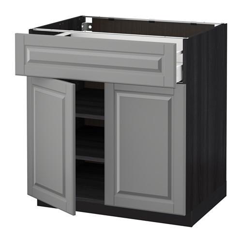 МЕТОД / МАКСИМЕРА Напольный шкаф+ящик/2дверцы - 80x60 см, Будбин серый, под дерево черный
