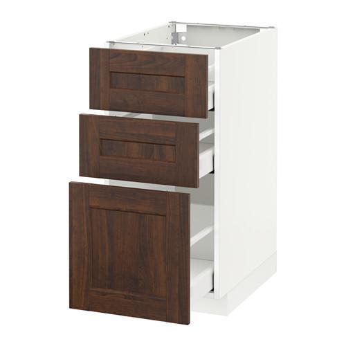 МЕТОД / МАКСИМЕРА Напольный шкаф с 3 ящиками - 40x60 см, Эдсерум под дерево коричневый, белый