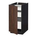 МЕТОД / МАКСИМЕРА Напольный шкаф с 1двр/3ящ - под дерево черный, Эдсерум под дерево коричневый, 40x60 см