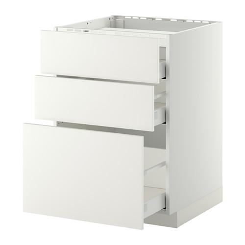 МЕТОД / МАКСИМЕРА Напольн шкаф/3фронт пнл/3ящика - 60x60 см, Хэггеби белый, белый