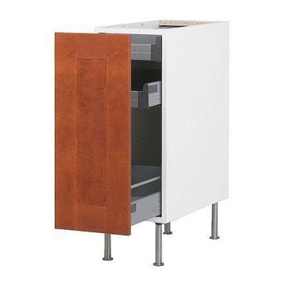 ФАКТУМ Напольный шкаф с выдвижной секцией - Эдель классический коричневый, 30 см