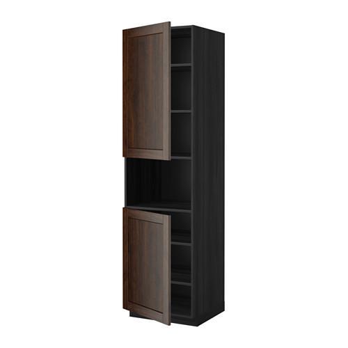 МЕТОД Выс шкаф д/СВЧ/2 дверцы/полки - 60x60x220 см, Эдсерум под дерево коричневый, под дерево черный