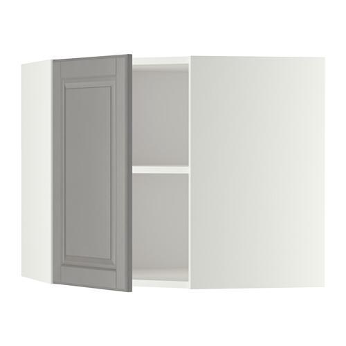 МЕТОД Угловой навесной шкаф с полками - 68x60 см, Будбин серый, белый