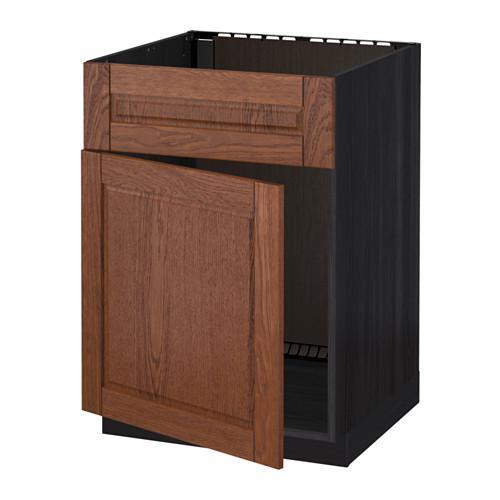 МЕТОД Напольный шкаф п-мойку с дв/фр пнл - Филипстад коричневый, под дерево черный