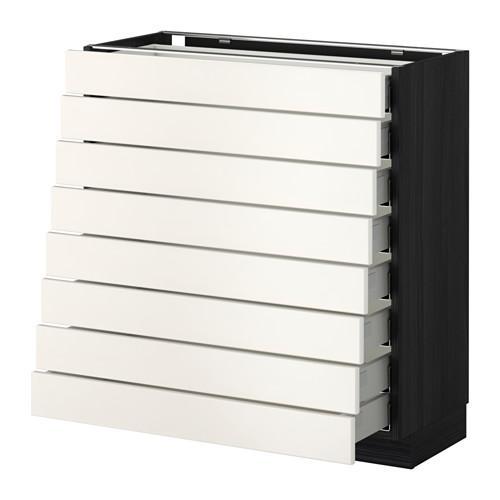 МЕТОД / МАКСИМЕРА Наполн шкаф 8 фронт/8 низк ящиков - 80x37 см, Веддинге белый, под дерево черный