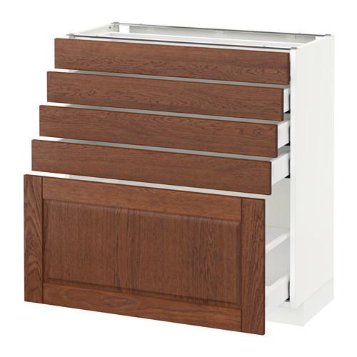 МЕТОД / МАКСИМЕРА Напольный шкаф с 5 ящиками - 80x37 см, Филипстад коричневый, белый