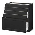 МЕТОД / МАКСИМЕРА Напольный шкаф с 5 ящиками - 80x37 см, Лаксарби черно-коричневый, под дерево черный