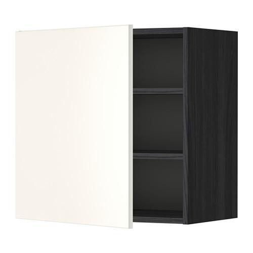 МЕТОД Шкаф навесной с полкой - 60x60 см, Веддинге белый, под дерево черный