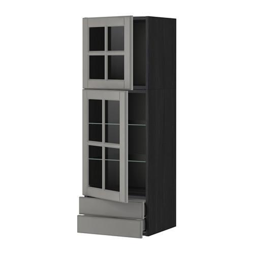 МЕТОД / МАКСИМЕРА Навесной шкаф/2 стек дв/2 ящика - 40x120 см, Будбин серый, под дерево черный