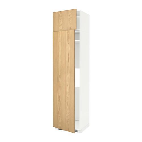 МЕТОД Выс шкаф д/холодильн или морозильн - 60x60x240 см, Экестад дуб, белый