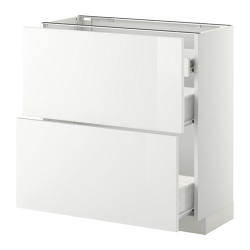VERFAHREN / FORVARA Nap Schrank 2 FRNT PNL / 1nizk / 2sr Schubladen - weiß, glänzend weiß Ringult, 80x37 cm