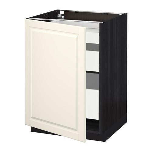 МЕТОД / МАКСИМЕРА Напольный шкаф с 1двр/3ящ - 60x60 см, Будбин белый с оттенком, под дерево черный