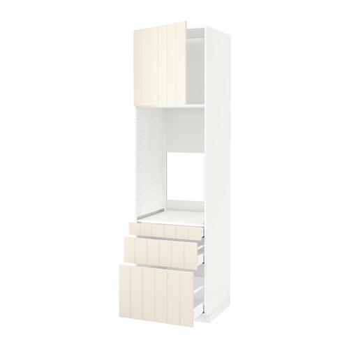 МЕТОД / МАКСИМЕРА Выс шкаф д/двойн духовки/3ящ/дверца - белый, Хитарп белый с оттенком, 60x60x220 см