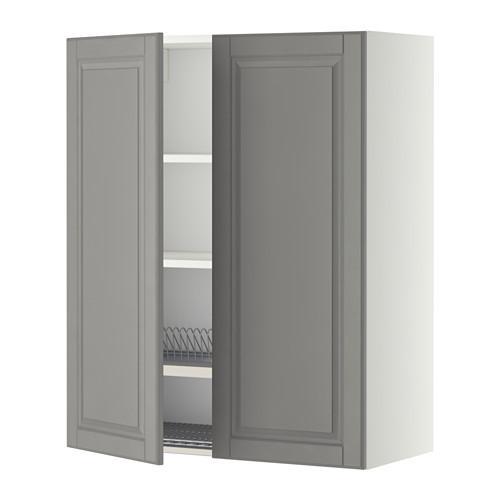 МЕТОД Навесной шкаф с посуд суш/2 дврц - 80x100 см, Будбин серый, белый