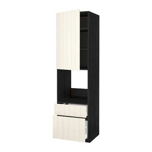 METHOD / MAXIMER High cabinet for perfume + door / 2 drawer - for wood black, Hitharp white with hue, 60x60x220 cm