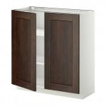МЕТОД Напол шкаф с полками/2двери - 80x37 см, Эдсерум под дерево коричневый, белый