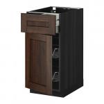 МЕТОД / МАКСИМЕРА Напольн шкаф с пров корз/ящ/дверью - 40x60 см, Эдсерум под дерево коричневый, под дерево черный