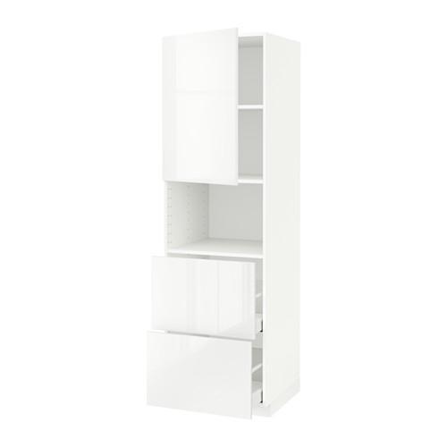 MÈTODE / MAKSIMERA armari alt d / microones / porta / 2yaschika - blanc, blanc brillant Ringult, 60x60x200 cm