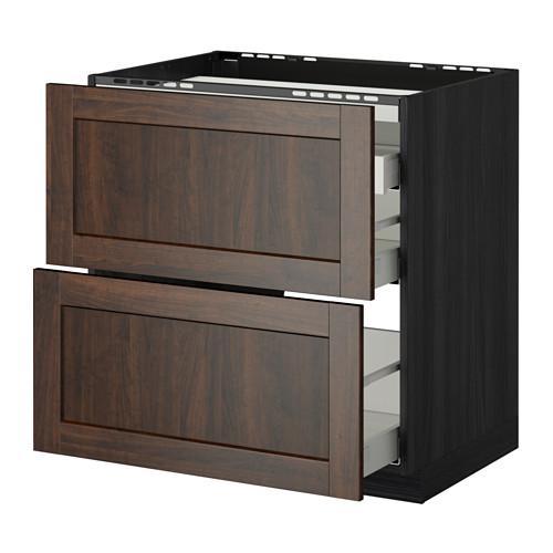 МЕТОД / МАКСИМЕРА Напольн шкаф/2 фронт пнл/3 ящика - 80x60 см, Эдсерум под дерево коричневый, под дерево черный