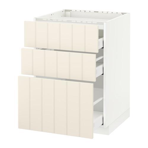 МЕТОД / МАКСИМЕРА Напольн шкаф/3фронт пнл/3ящика - 60x60 см, Хитарп белый с оттенком, белый