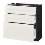 МЕТОД / МАКСИМЕРА Напольный шкаф с 3 ящиками - 80x37 см, Сэведаль белый, под дерево черный