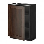 МЕТОД Напольный шкаф с полками - 60x37 см, Эдсерум под дерево коричневый, под дерево черный