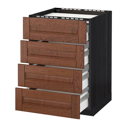 МЕТОД / МАКСИМЕРА Напольн шкаф/4фронт пнл/4ящика - 60x60 см, Филипстад коричневый, под дерево черный