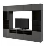 БЕСТО Шкаф для ТВ, комбин/стеклян дверцы - черно-коричневый/Сельсвикен глянцевый/серый прозрачное стекло, направляющие ящика,нажимные