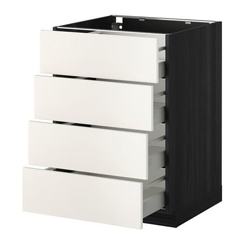 МЕТОД / МАКСИМЕРА Напольн шкаф 4 фронт панели/4 ящика - 60x60 см, Веддинге белый, под дерево черный