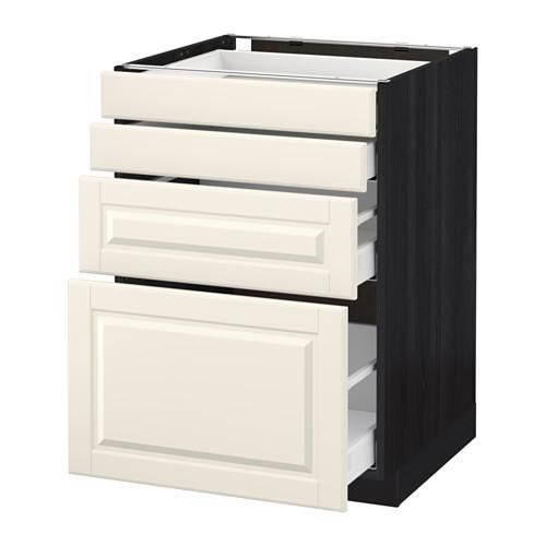 МЕТОД / МАКСИМЕРА Напольн шкаф 4 фронт панели/4 ящика - 60x60 см, Будбин белый с оттенком, под дерево черный