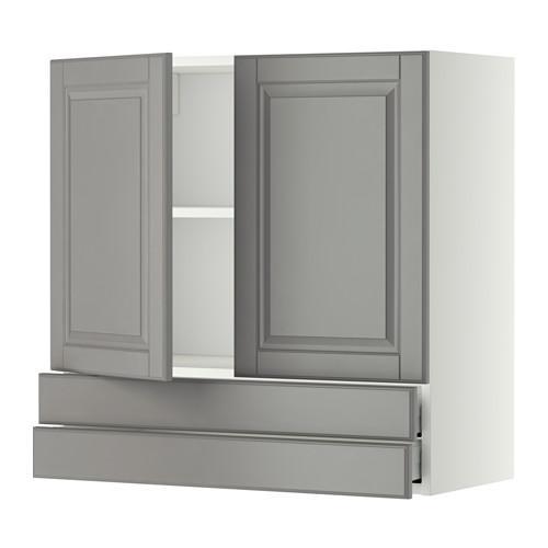 МЕТОД / МАКСИМЕРА Навесной шкаф/2дверцы/2ящика - 80x80 см, Будбин серый, белый