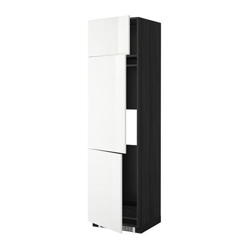 МЕТОД Выс шкаф для хол/мороз с 3 дверями - 60x60x220 см, Рингульт глянцевый белый, под дерево черный
