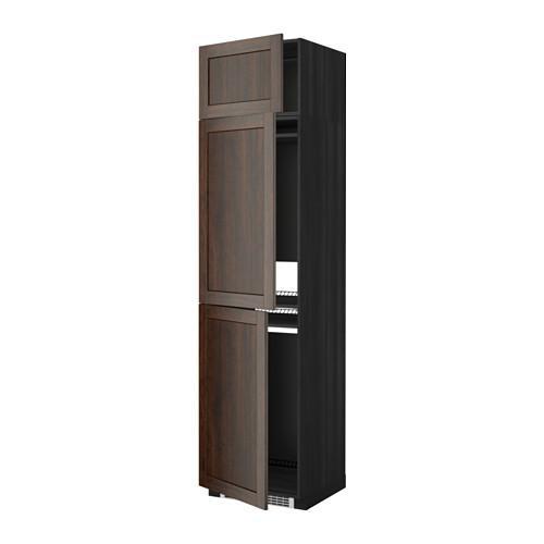 МЕТОД Выс шкаф для хол/мороз с 3 дверями - Эдсерум под дерево коричневый, под дерево черный