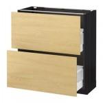 МЕТОД / МАКСИМЕРА Напольный шкаф с 2 ящиками - 80x37 см, Тингсрид под березу, под дерево черный