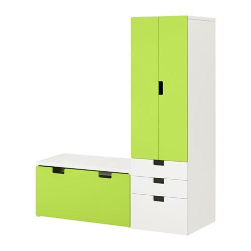 СТУВА Комбинация д/хранен со скамьей - белый/зеленый